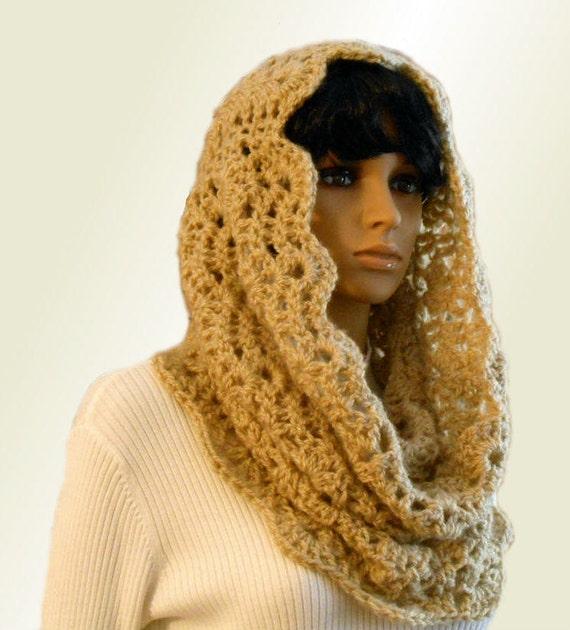Infinity Scarf Hood Cowl Camel Light Tan Handmade Crochet Knit