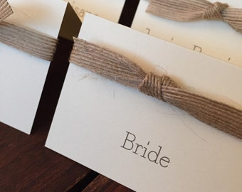 Placecards and Escort Cards // Burlap and Twine // Purchase this Listing to Get Started