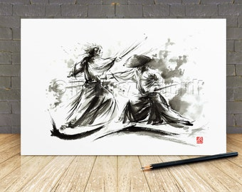 Samurai Wall Decor Poster Japanese Sword Warrior Artwork Abstract Calligraphy Original Print