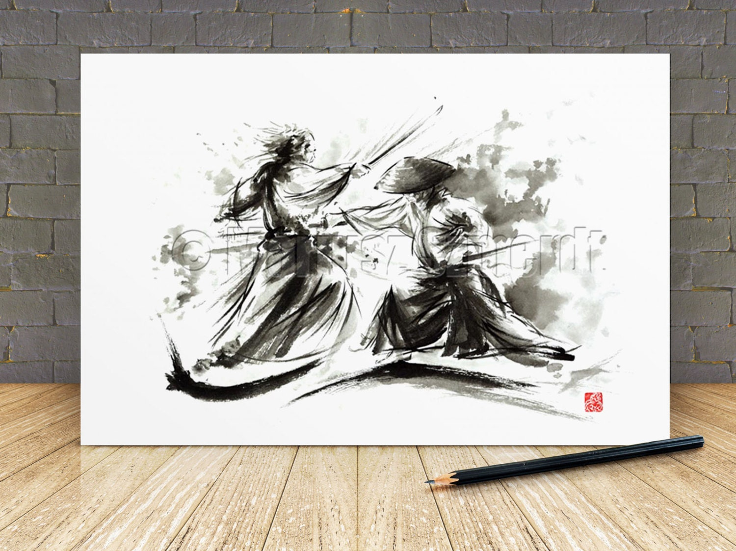 Samurai wall decor poster japanese sword warrior artwork for Asian wall art