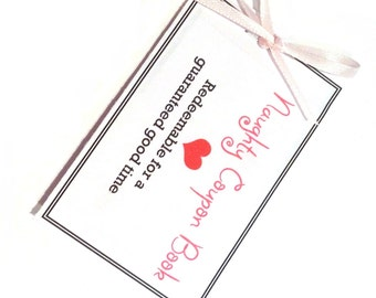 sexy Naughty Coupon Book pdf file,  gift for boyfriend, husband, wife, girlfriend. Last minute gift