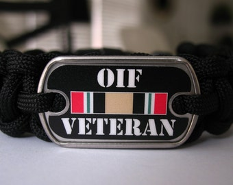 Operation Iraqi Freedom (OIF) Veteran Logo Paracord Bracelet