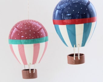 Ceiling hanging hot air balloon baby stripes