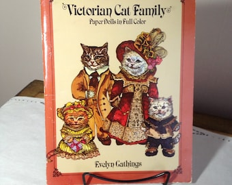 Vintage Paper Dolls Victorian Cat Family Dover Book 1980s