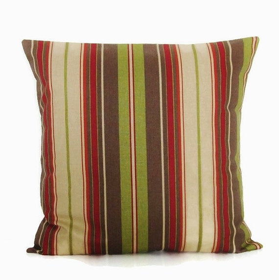 Stripe Pillow Cover Brown Olive Green Tan Taupe Decorative