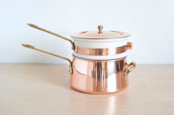 Vintage Copper Double Boiler Bain Marie With By Thewildworld