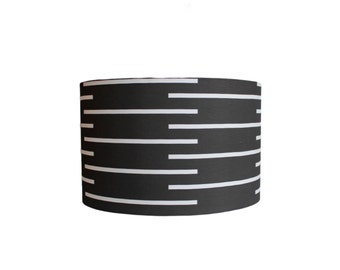 """Modern Lamp Shade - """"Out of Line """"  Choose Your Size - Black and White"""