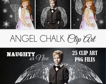 """Angel Clipart """"ANGEL CHALK CLIPART"""" 25 chalkboard clipart, wings, Christmas chalk, overlay, use on or over photos, photographers, xmas cards"""