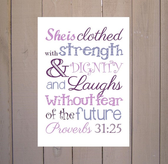 She Is Clothed With Strength And Dignity Canvas: Proverbs 31:25 She Is Clothed With Strength & Dignity