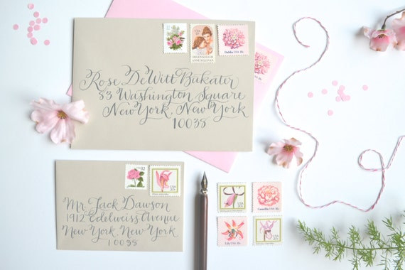 pink wedding stamps vintage wedding postage stamp pink flower,