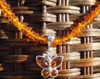 Baltic Amber Necklace, Amber Butterfly Necklace, Amber Pendant, Silver Amber Butterfly Necklace, Amber Jewelry, Amber Butterfly Pendant