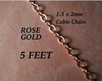 14 K ROSE Gold Filled Flat Cable Chain 1.3X2mm Chain 14/20GF
