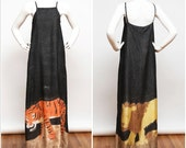 Vintage 80's - 90's Silk Maxi Dress with Tiger and Lion Hand Painted Look