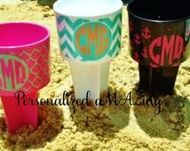 Beach drink holder, beach spike drink holder, Monogram beach spike,birthday gift,wedding favor, stocking stuffer, Christmas gift