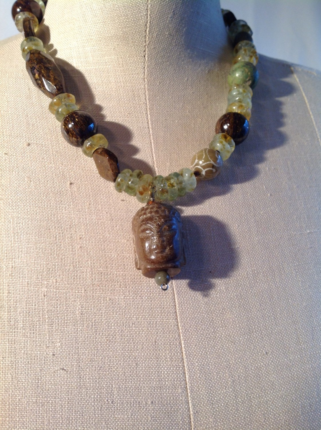 Carved Stone Glass : African recycled glass carved stone necklace