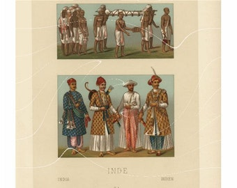 Original Antique Print of Indian Costumes - Hindus & Muslim Costumes