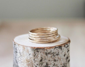 Thin Gold Hammered Stacking Rings [set of 5 rings]