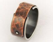 Silver Copper Ring for Men, Men's Engagement Ring, Unique Mens Ring, Rustic Mens Ring, Rustic Wedding Ring, Sterling Silver Ring