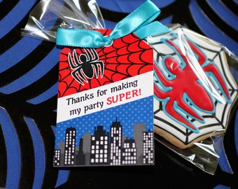 Spiderman INSTANT Printable Hanging Thank You TAGS Birthday Party DIY  amazing spiderman - cupcake express