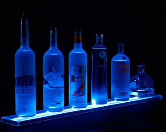 """53 inch Wall Mount LED Lighted Bottle Shelf, 4' 5"""" Liquor shelves, display shelves"""