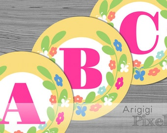 Spring Banner Letter - Alphabet A-Z - Numbers 0-1 - Printable Spring Party Decor - Yellow Banner Circles with Flower Wreath