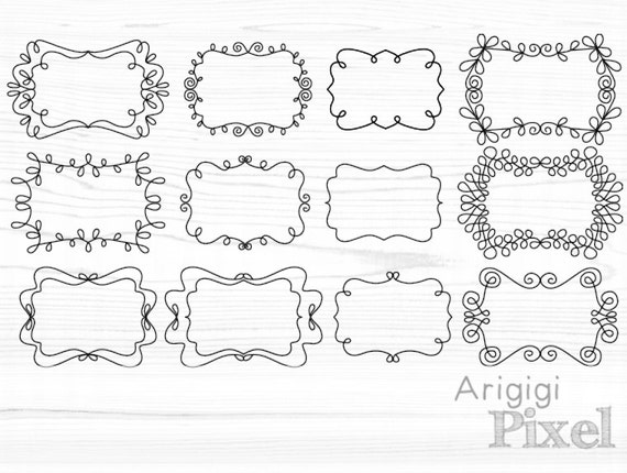 flourish frames clip art set, ornate swirly digital graphic, large clipart for scrapbooking, iron on transfer, card making,  PNG download
