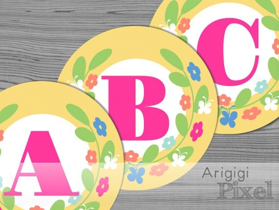 Spring Banner Alphabet A-Z and Numbers 0-9 - Yellow Circles with Flower Wreath - Printable