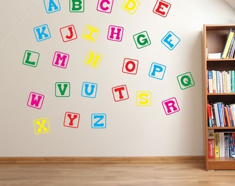 Block Alphabet 2 Wall Stickers Kids Nursery Play Room Home Art Decoration Children Decals Removable Handmade School Bedrooms Bright VC-A131