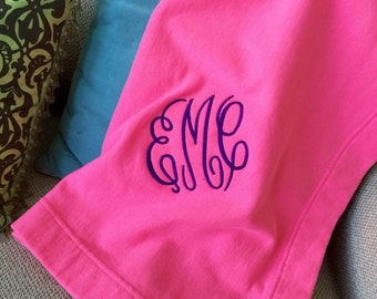 Embroidered Monogram Fleece Stadium Blanket Large and Soft College Bedroom Wedding Gift Home