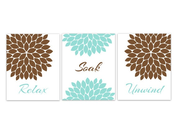 Aqua And Brown Bathroom Decor Bathroom Art Relax Soak