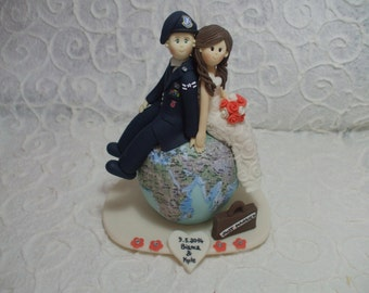 personalized bride and military groom on the globe wedding cake topper