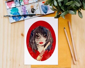 Little Red Riding Hood Art Print, Disney, Fairy Tales, Watercolor