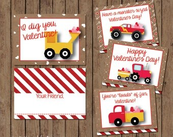 Boy Valentine Cards - INSTANT DOWNLOAD - Printable - Write-in - Construction - Monster Truck - Tractor - Modern