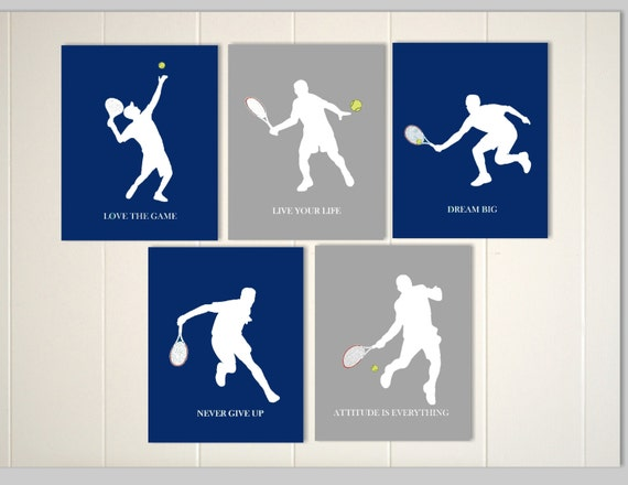 Tennis art boys tennis tennis wall decor boys by for Boys wall art