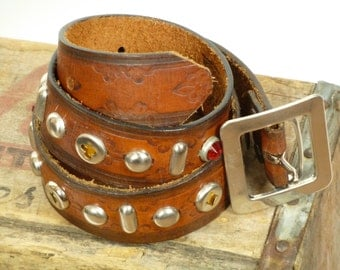 Authentic Tan Leather Handmade 1940's 1950's Styled Motorcycle Rockabilly Western Belt