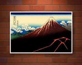 Japanese art, Hokusai 36 Views of Mount Fuji, Thunderstorm, Japan landscapes art prints, posters, paintings, woodblock prints reproductions