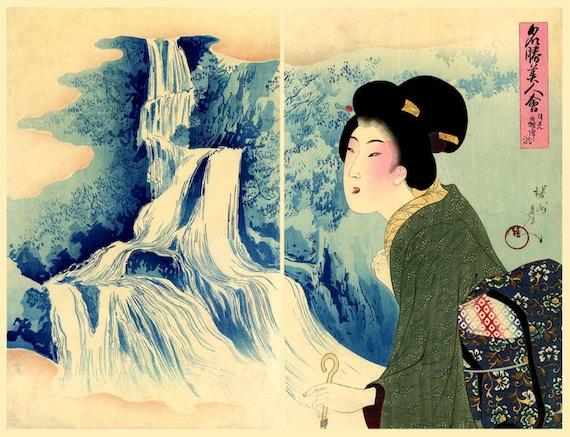 Japanese geishas beauties landscapes art prints. Famous