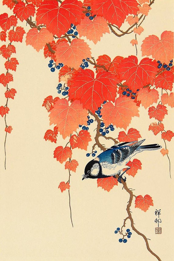 Japanese birds and flowers art prints posters bird red ivy for Posters art prints