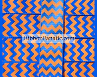 "5 yds 7/8"" Electric Blue and Orange Florida Gators Chevron Grosgrain Ribbon"