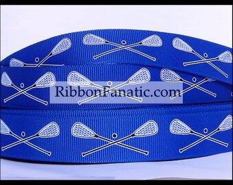"""5 yds 7/8"""" Bright Electric Blue Lacrosse LAX Grosgrain Ribbon Sticks and Ball"""
