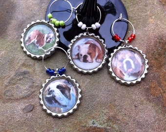 English Bulldog wine glass charms