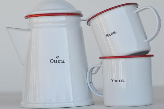 Enamel Percolator and Coffee Mug Set. Vintage style drink ware for camping or lounging. Great Valentine's Day Gift.