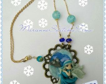 Handmade Necklace Cameo Ice Fairy Polymer Clay