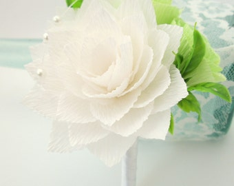 Wedding Boutonniere/Paper Flower Boutonniere/Rustic Boutonniere/Groom's Boutonniere/ White and Green Boutonniere