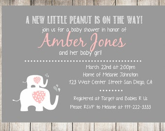 Baby girl shower. Baby shower. Baby elephant shower. Book for baby card. Shower invitation. Printable invitation. Digital File.