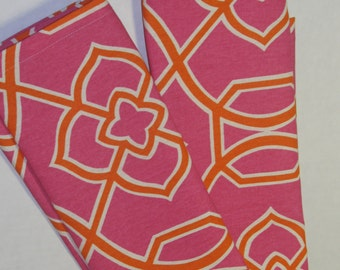 Pink and orange kitchen towel