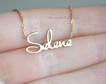 14k solid Gold, Gold Name Necklace, Personalized Name Necklace, Gold Personalized necklace, Christmas Gift, Mothers Gift
