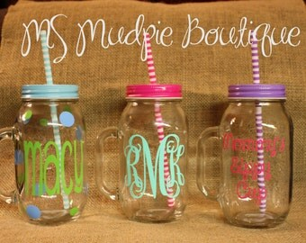 Personalized Glass Mason Jar, Monogrammed Mason Jar, Monogrammed Glass Jar, Personalized Preppy Mason Jar, 24 ounce mason jar