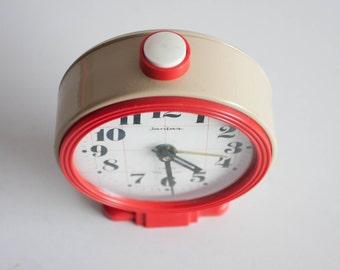 Soviet Desk Clock, Russian Alarm Clock, Soviet Union Home Decor, Office Decor Clock, Black Red