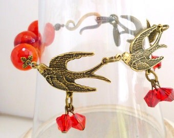 Bracelet agates red orange with antique bronze  laiton bird and crystal like 1920s art deco, autum lightweight,